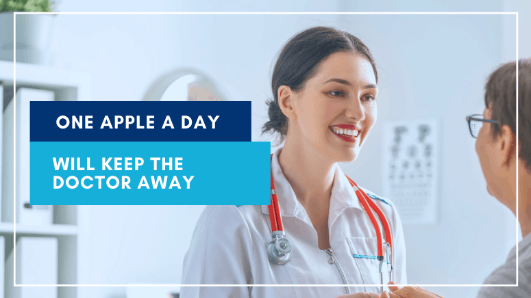 One Apple A Day Will Keep the Doctor Away image of a doctor